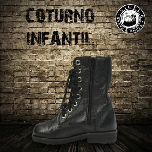 Coturno couro c/ Ziper Infantil - Preto