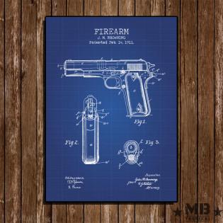 Poster Patent Colt 1911 - Fundo Azul