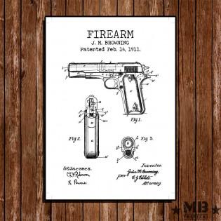 Poster Patent Colt 1911 - Fundo Branco