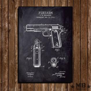 Poster Patent Colt 1911 - Fundo Lousa