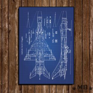 Poster Patent Sukhoi Su-15 Flagon - Fundo Azul