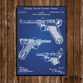 Poster Patent Luger - Fundo Azul