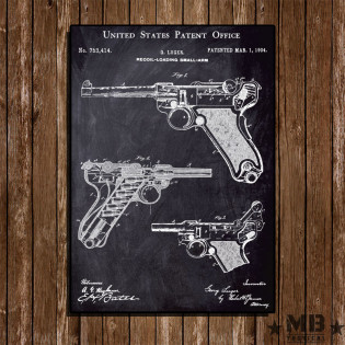Poster Patent Luger - Fundo Lousa