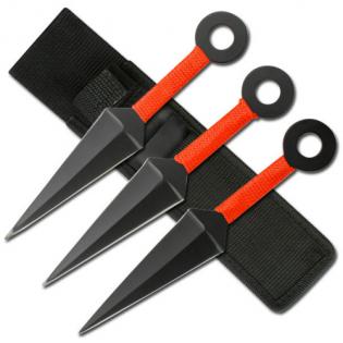 Conjunto c/ 3 facas de arremesso estilo Kunai