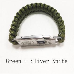 Bracelete Paracord Canivete Verde
