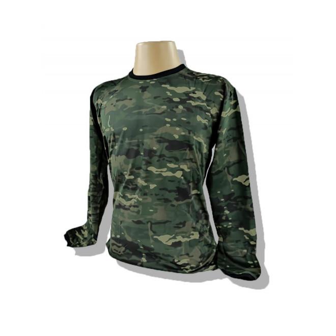 Camiseta Manga Longa Dry Fit - Camo Multicam Black