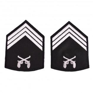 Divisa Bordada 3º Sargento o par - Preto
