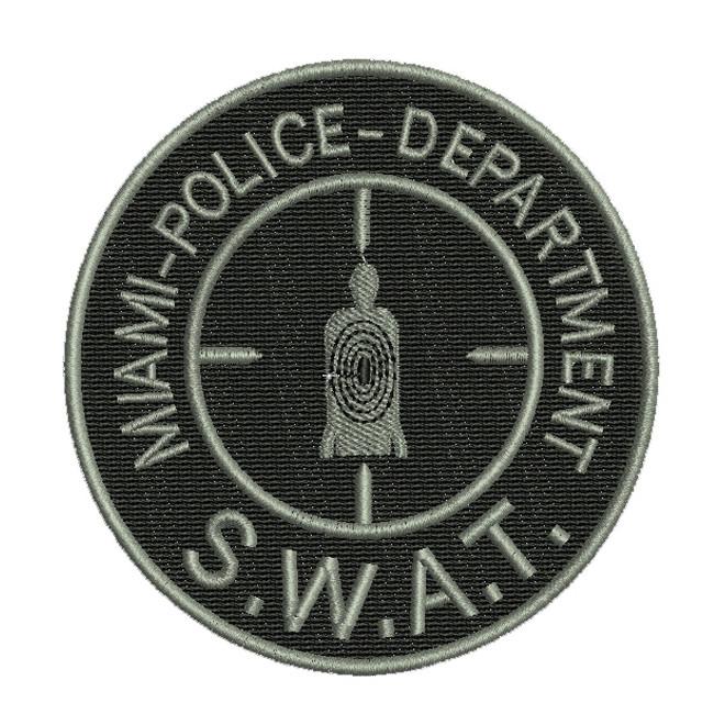 42a49d9ee6f5b Bordado Miami Police Dept. - Swat (Mira) Cinza Fundo Preto - Militar ...