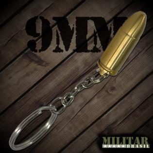 Chaveiro Munição 9mm Dourada