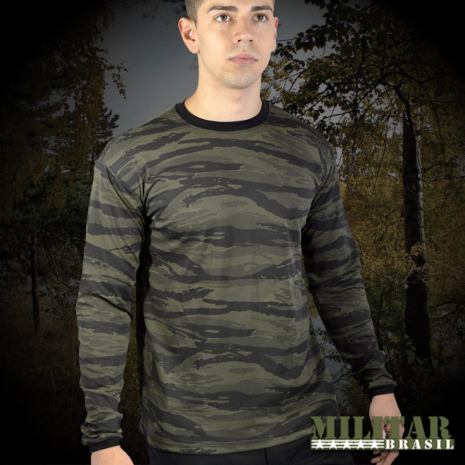 fcdc409dd8 Camiseta Manga Longa Dry Fit Camo Tiger Jungle - Militar Brasil ...
