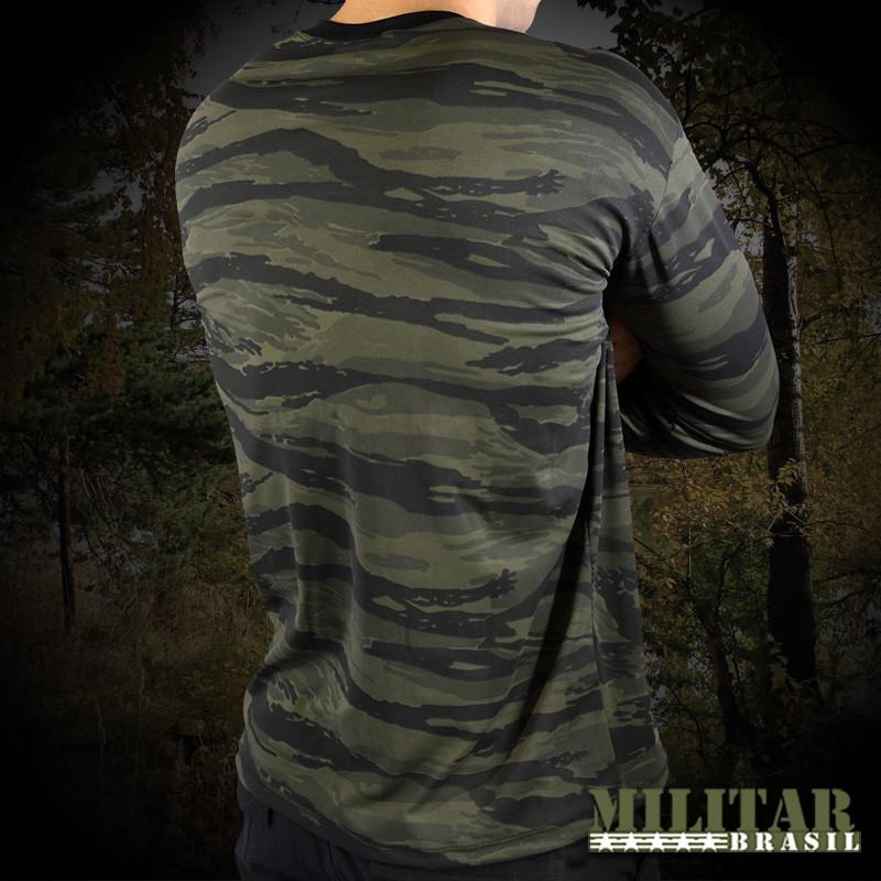 Camiseta Manga Longa Dry Fit Camo Tiger Jungle - Militar Brasil ... 9e16d0d6cc5