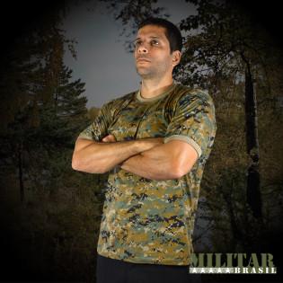 Camiseta Militar Manga Curta - Camo Woodland Marpat DB