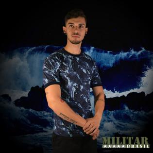 Camiseta Militar Manga Curta - Camo Exército Azul