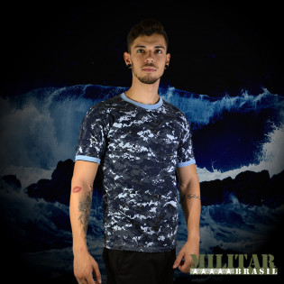 Camiseta Militar Manga Curta - Camo Navy Digital