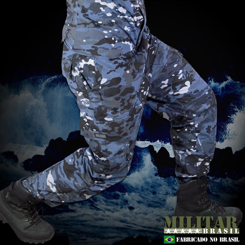 ec15569956 Fardamento Calça Tática + Combat Shirt Multicam Navy - Militar ...