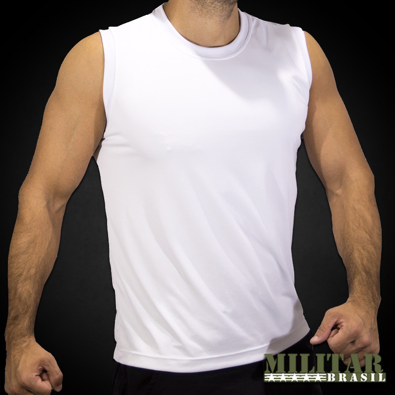 9b50ec9dd Camiseta Regata em Dryfit Branca - Militar Brasil - artigos ...