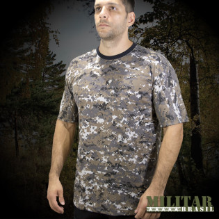 Camiseta Militar Manga Curta - Camo Woodland Russo