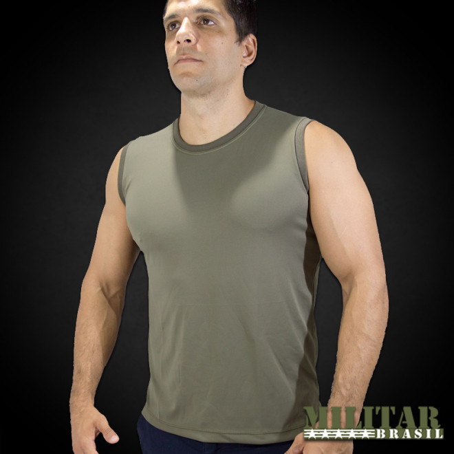 23684851b Camiseta Regata em Dryfit Verde - Militar Brasil - artigos militares ...