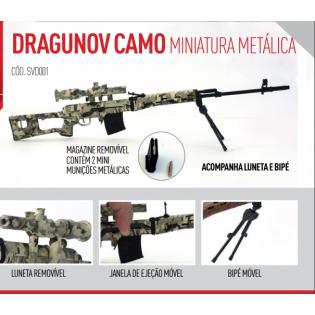 Miniatura Arma Camuflada Dragunov Metálica - 30cm