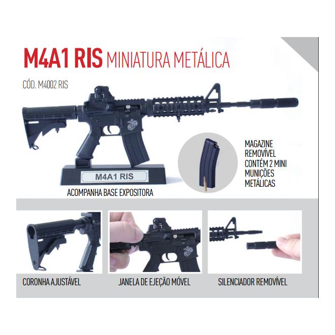 Miniatura Arma M4-A1 RIS Metálica - 30cm