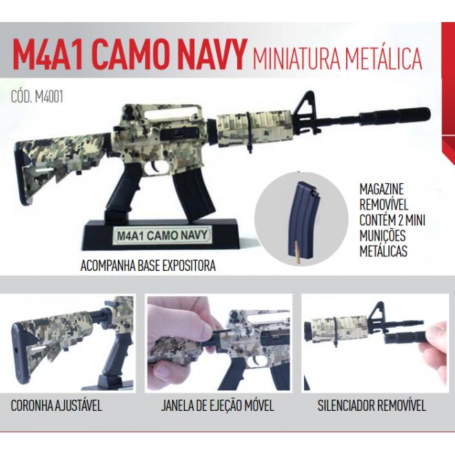 Miniatura M4-A1 Camo Navy Metálica - 30cm