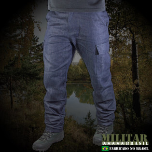 Calça Tática 6 Bolsos Jeans