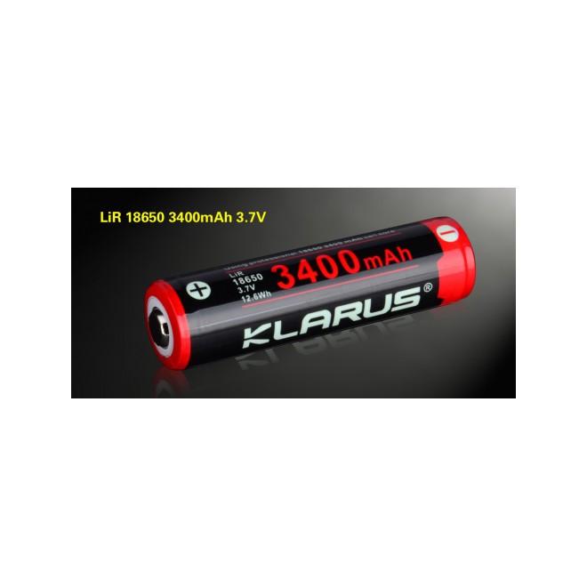 Bateria Klarus de Lítio recarregável 18650 com 3400mAh 3,7V. Pólos automáticos, pode ser utilizada em qualquer posição