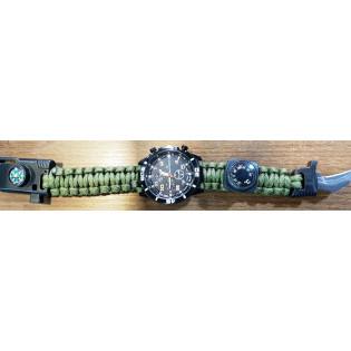 Relogio Bracelete Paracord - Verde